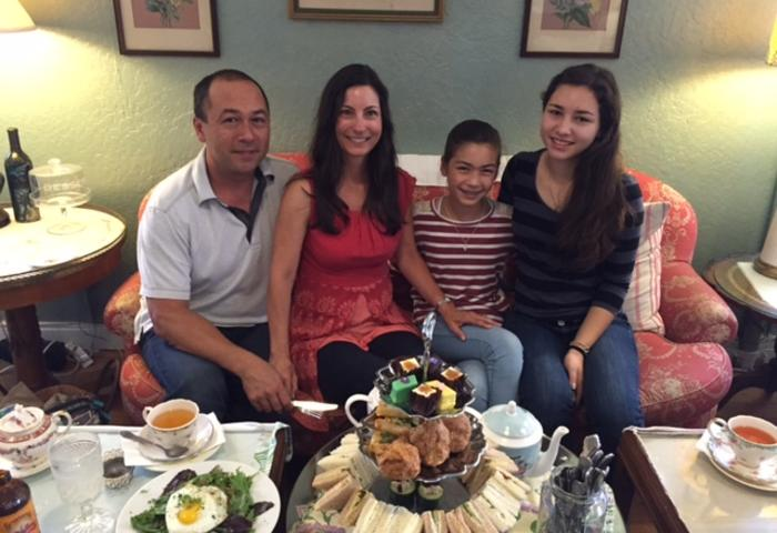 Afternoon Tea with my family: Mr. Tervet, me, Liz and Maddy